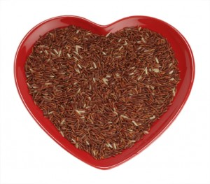 Himalayan Red Long grain Rice  in red heart shaped plate